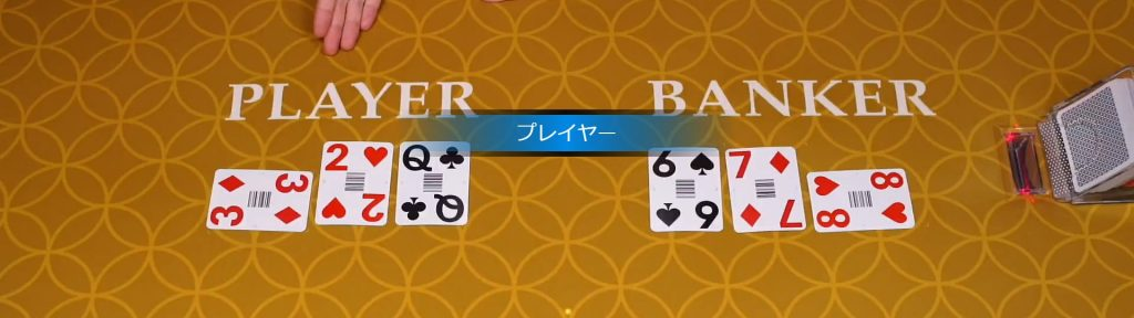 バンカー2枚のカードの合計数が3の場合:プレイヤーが3枚目を引いてそのカードが8以外の場合、バンカーも3枚目を引: