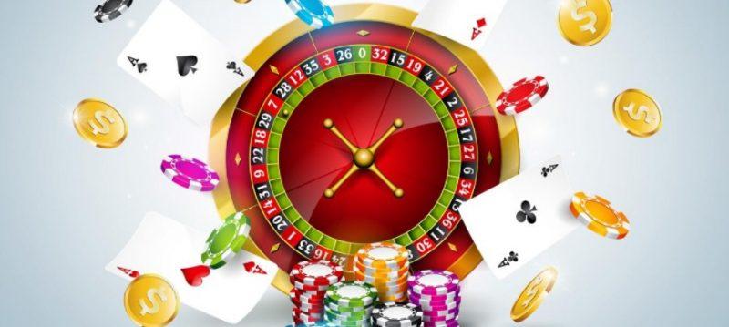 カジノ-ルーレット、チップ、カードとコイン